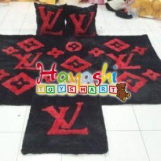 Karpet Set LV Hitam Merah
